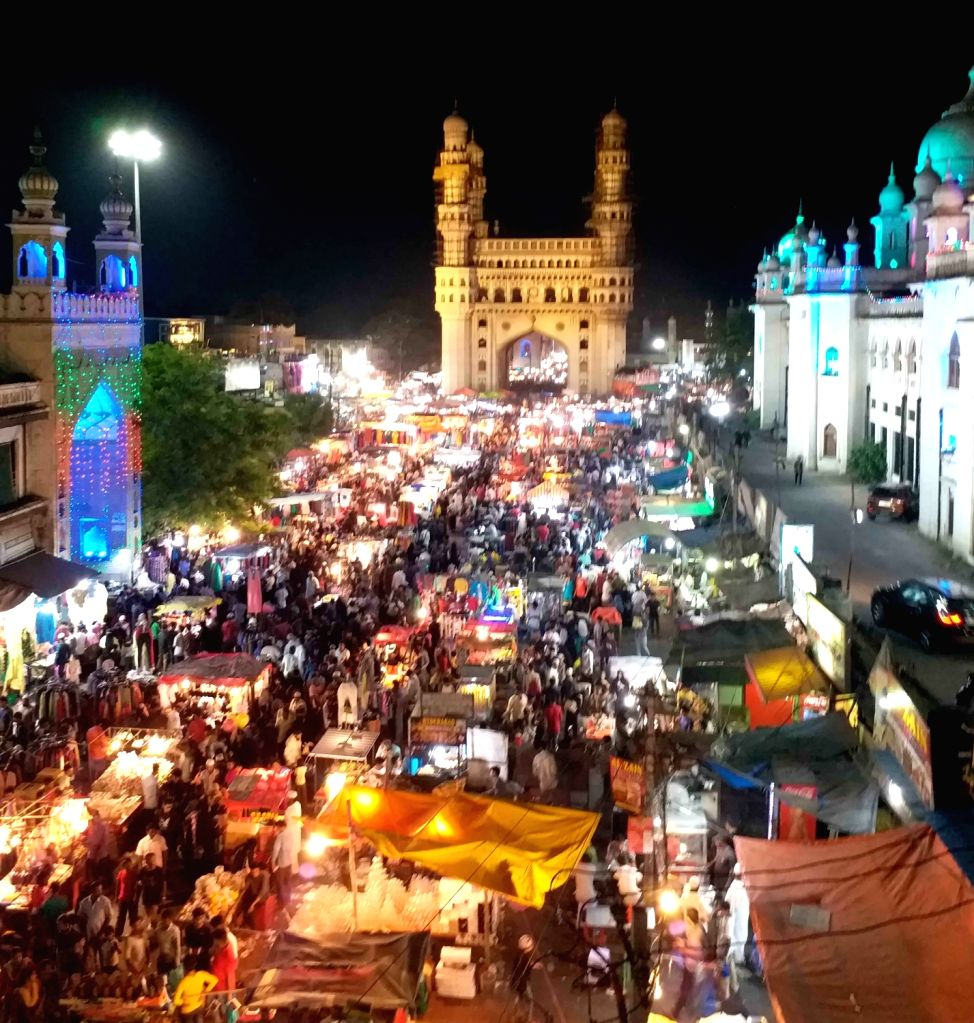 A view of a busy market near Charminar ahead of Eid, in Hyderabad.