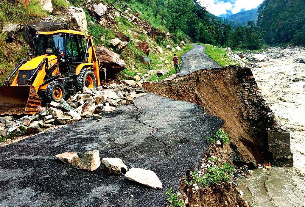 A view of a damaged road after a landslide struck Uttarakhand's Uttarkashi on July 17, 2018.