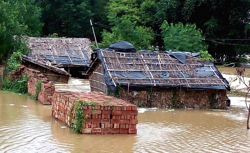 A view of a flood hit village in Khagaria district of Bihar on Aug 22, 2016.