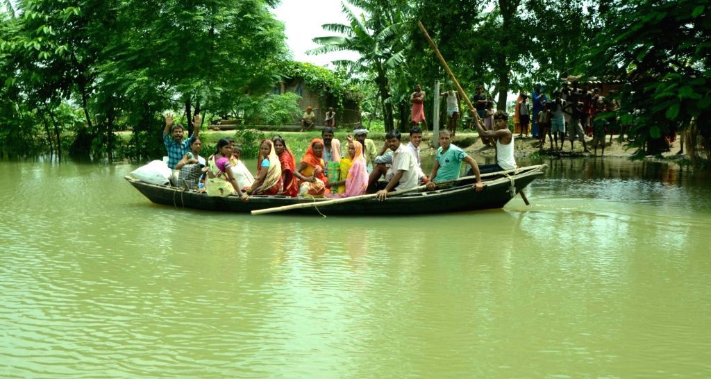 A view of a flood hit village in Patna district of Bihar on Aug 19, 2016.
