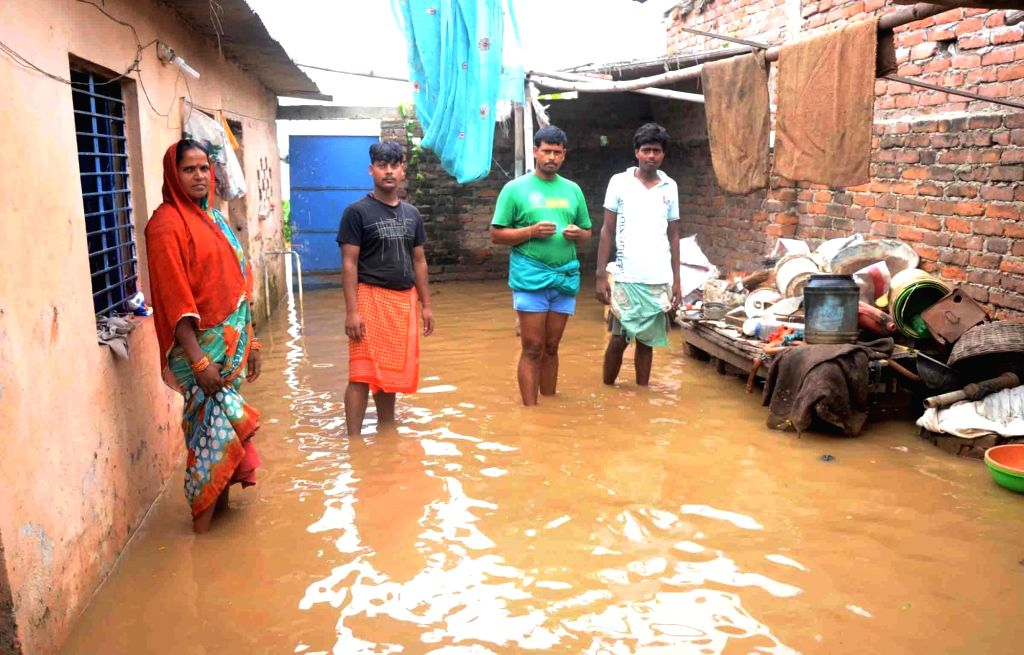 A view of a flood hit village in Patna district of Bihar on Aug 22, 2016.