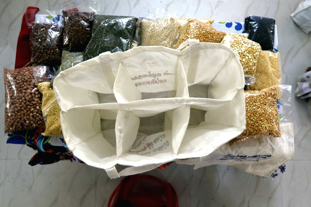 A view of a multi pocket biodegradable bag stitched by a tailor, in Chennai on July 16, 2018. The state government recently issued orders that exempted various items such as plastic bags ...