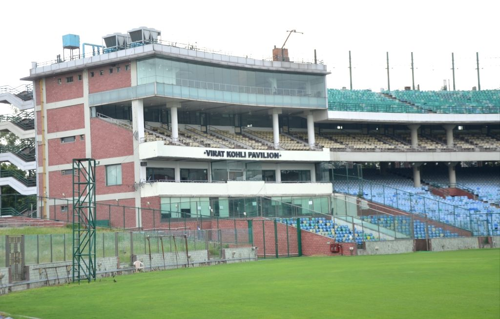 A view of a pavillion stand named after Indian skipper Virat Kohli at the Arun Jaitley Stadium, in New Delhi on Sep 13, 2019. Kohli has expressed his gratitude to the DDCA and the BCCI for ... - Virat Kohli and Arun Jaitley Stadium