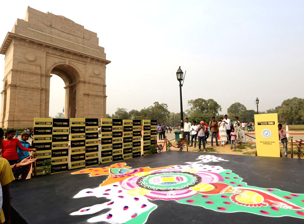 A view of a rangoli made by visually impaired students from various NGOs during Diwali celebrations, at India Gate in New Delhi on Nov 3, 2018.