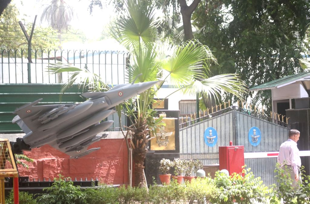 A view of a replica of the Rafale fighter jet erected outside Air Chief Marshal B.S. Dhanoa's residence, which is next to the Congress headquarters, in Delhi on May 31, 2019.