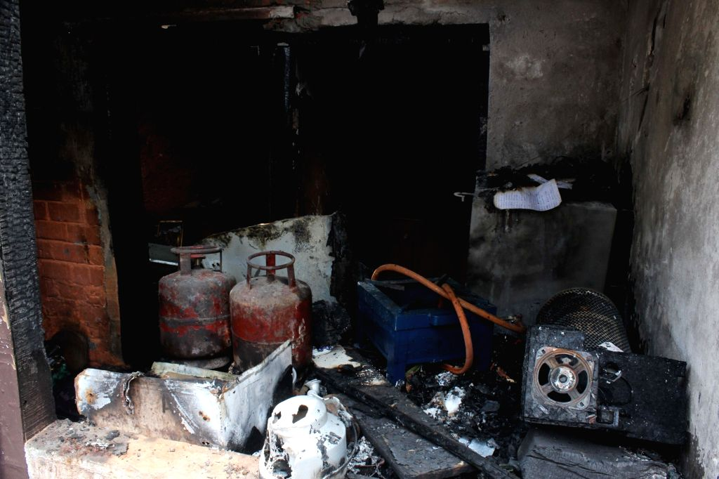 A view of a tea stall damaged in a LPG cylinder blast in which reportedly five persons, including three women, a man and a six- year-old girl died in the incident, at Okhla in New Delhi on ...