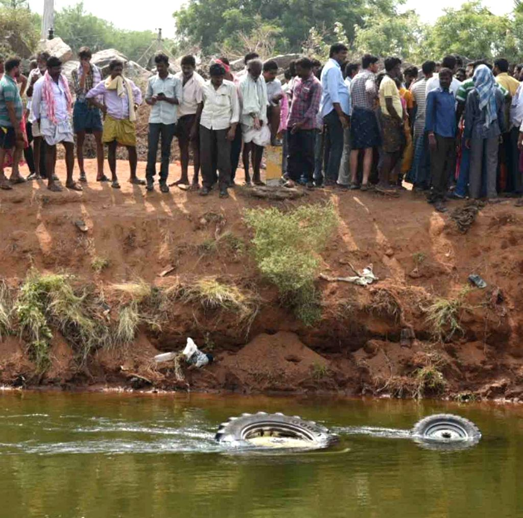 A view of a tractor which plunged into a canal killing nine agricultural labourers and injuring 15 near Vaddipatla in Telangana's Nalgonda district on April 6, 2018.