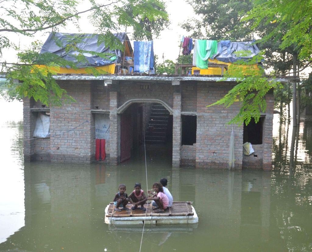 A view of a village in Bihar's flood-hit Muzaffarpur submerged under flood water on Aug 2, 2020.