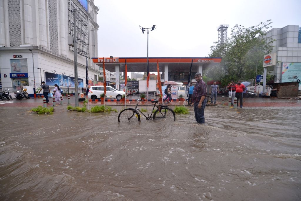 A view of a water logged road in Connaught Place of New Delhi on July 13, 2018.