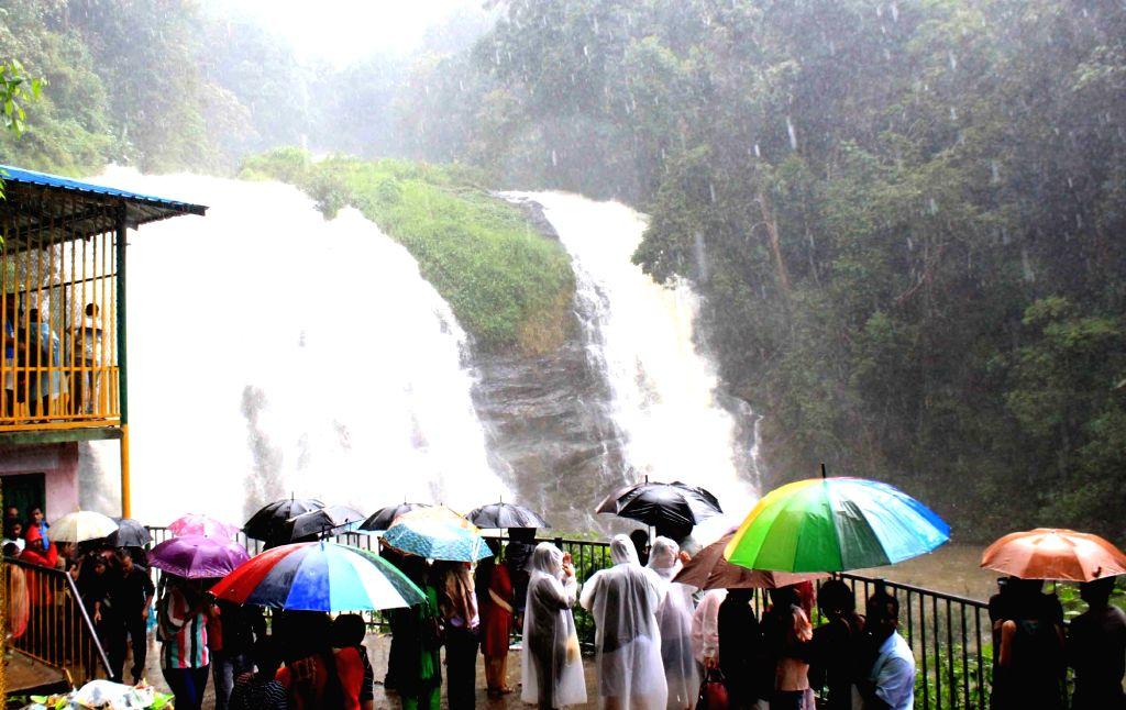 A view of Abbey Falls near Madikeri in Kodagu district on June 11, 2018.
