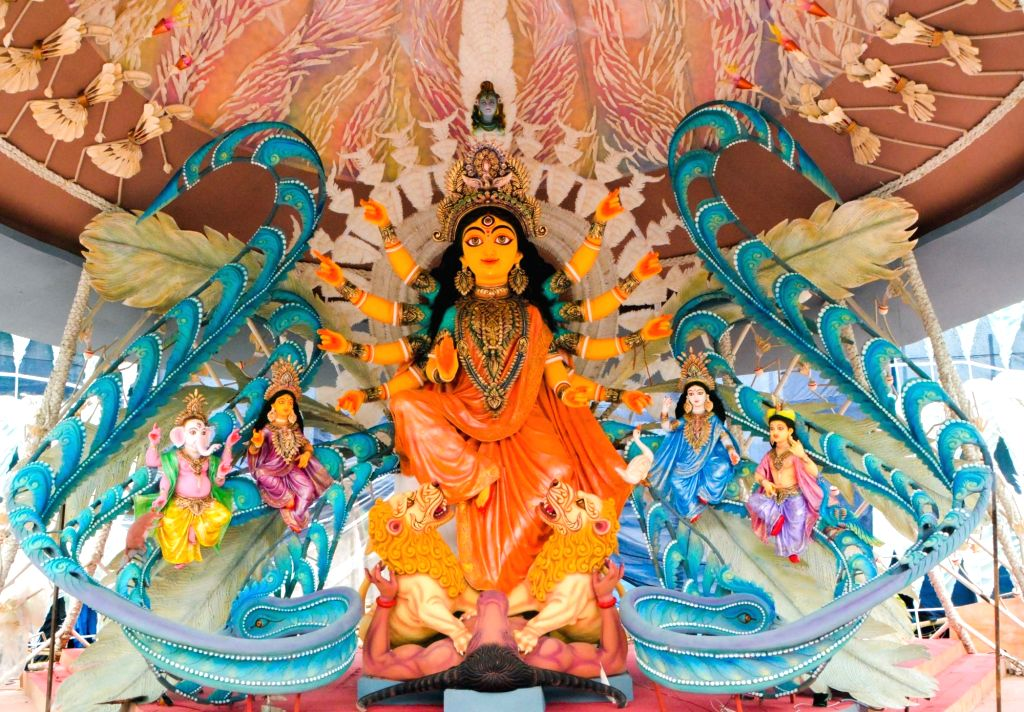 A view of an idol of Goddess Durga at a community puja pandal of Rajdanga Naba Uday Sangha ahead of Durga Puja celebrations, in Kolkata on Sep 30, 2019.