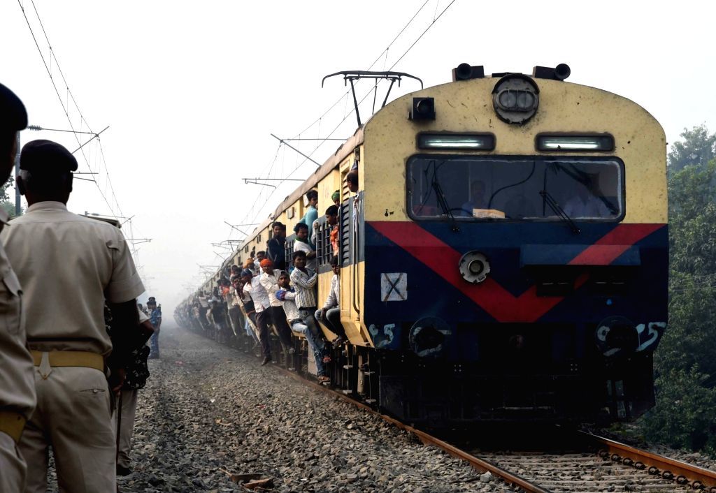 A view of an over-crowded train as people leave for their respective homes ahead of Diwali on Nov 5, 2018.