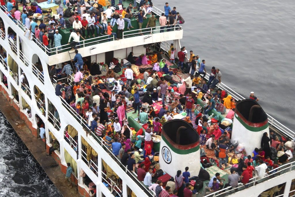 A view of an overcrowded passenger ferry, as people head to their hometowns ahead of Eid-Ul-Fitr, in Dhaka on June 4, 2019.