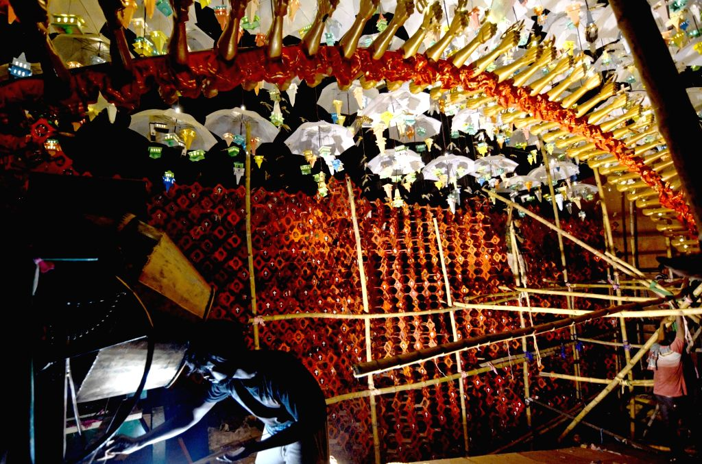 A view of an under-construction puja pandal ahead of Durga Puja celebrations, in Kolkata on Sep 24, 2019.
