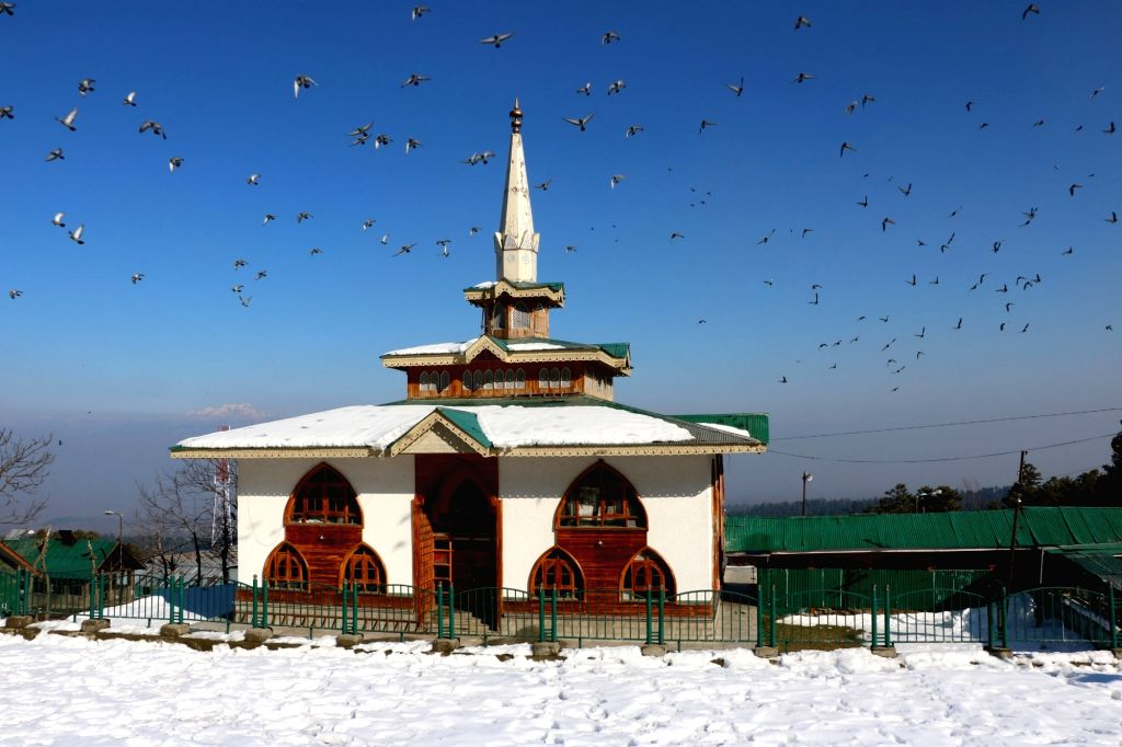 A view of Baba Payam-u-din (Baba Reshi Shrine) at Ramboh Tangmarg on the outskirts of Gulmarg in Jammu and Kashmir`s Baramulla District, on Jan 16, 2016.