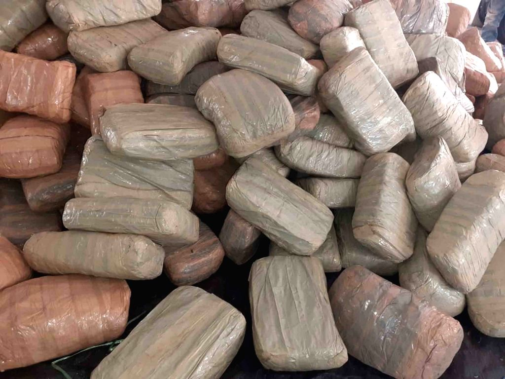 A view of cannabis weighing around 944 Kgs worth Rs 1 crore 89 lakhs (approx) that was seized by Directorate of Revenue Intelligence (DRI) from a Cargo truck heading from Bhadrachalam to ... - Sanga Reddy