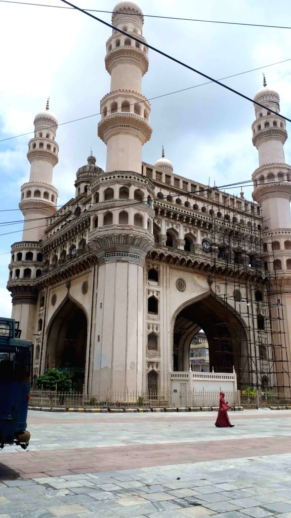 A view of Charminar in Hyderabad on July 4, 2020. Historic Charminar and Golconda Fort, the two major tourist attractions in Hyderabad, will re-open from July 6, after remaining shut for ...