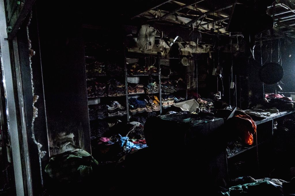 A view of charred shops on the fifth floor of the 'Five Star Market' where a fire broke out in Kolkata on May 24, 2017.