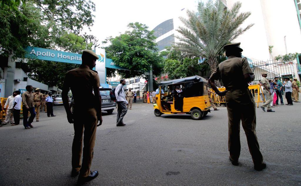 A view of Chennai Apollo Hospital where Tamil Nadu Chief Minister J Jayalalithaa is admitted, on Oct 6, 2016. - J Jayalalithaa