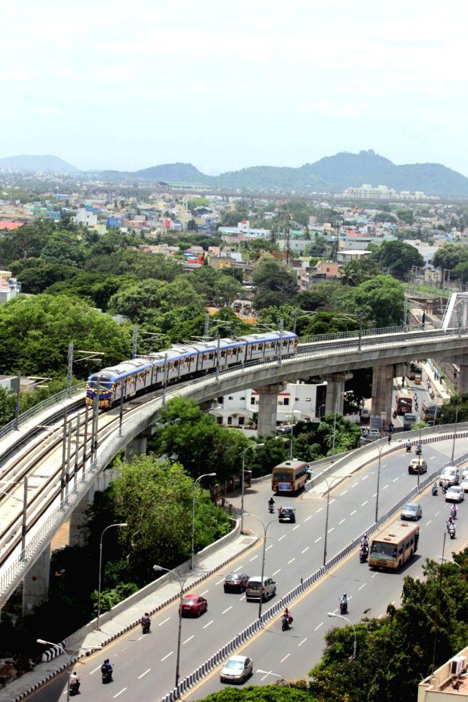 A view of Chennai Metro Train in Chennai on Sept 21, 2016.