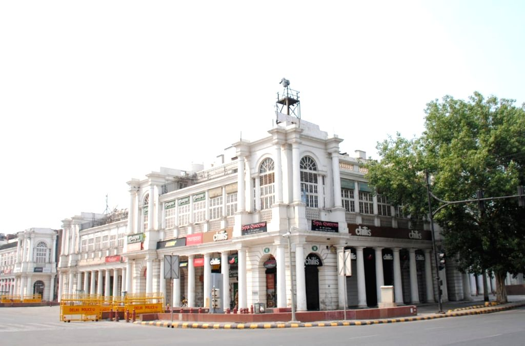 A view of connaught place Market in New Delhi on Sunday, 09 May,2021.