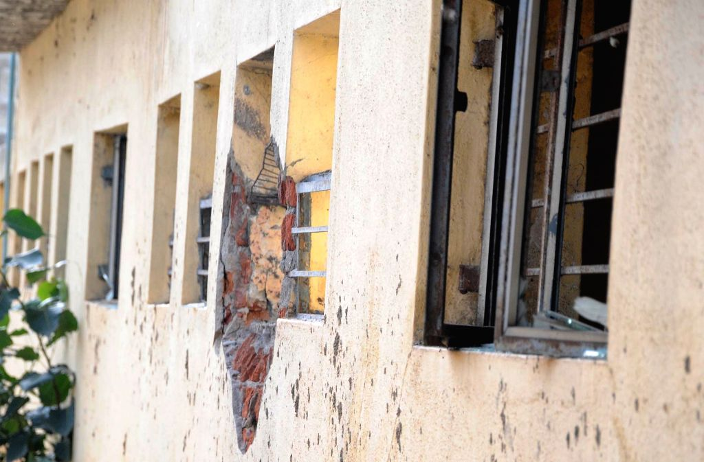 A view of damaged wall of Mysuru court after an explosion rocked the court on Aug 1, 2016.