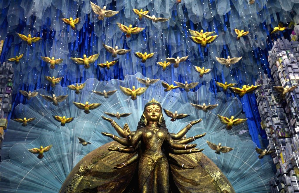 A view of decorations at a pandal ahead of Durga Puja in Kolkata on Sept 17, 2017.