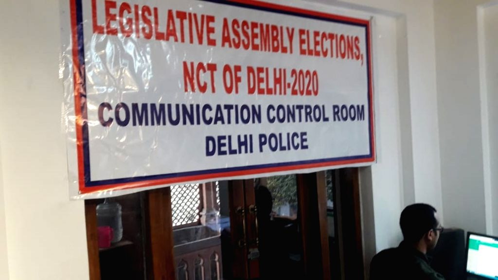 A view of Delhi Legislative Assembly elections, Communication Control Room of Delhi Police.