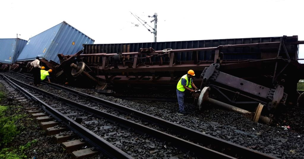 A view of derailed wagons of a goods train at Dahanu in Maharashtra on July 4, 2016.