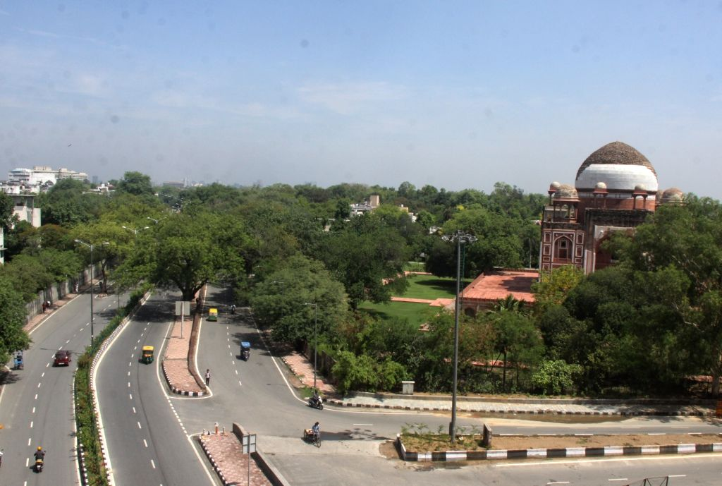 A view of desert road with clean climate near Humayun Tomb during the Delhi lockdown in New Delhi on Saturday May 22, 2021.