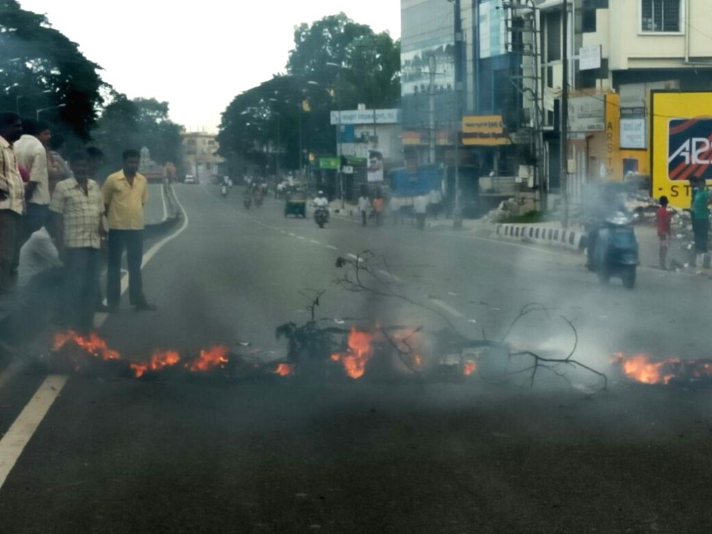 A view of deserted Bengaluru roads during Karnataka wide strike called to protest against release of Cauvery river water to Tamil Nadu on Sept 9, 2016. The Supreme Court on Monday had ...