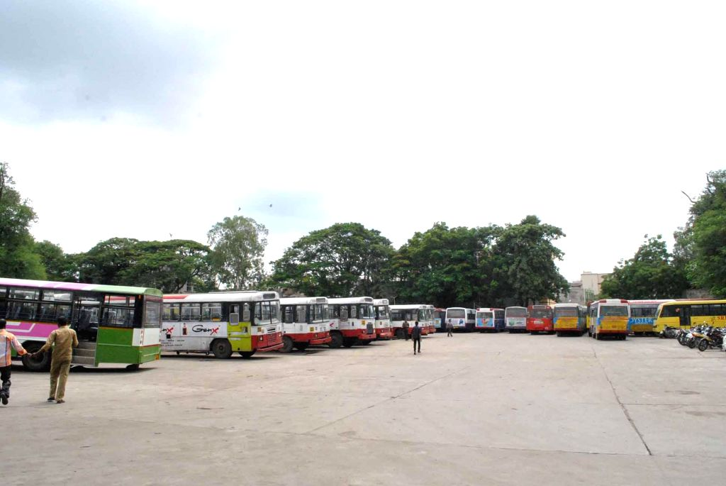 A view of deserted Falaknuma bus depot as   drivers and conductors go on sudden strike in Hyderabad on August 1, 2014.