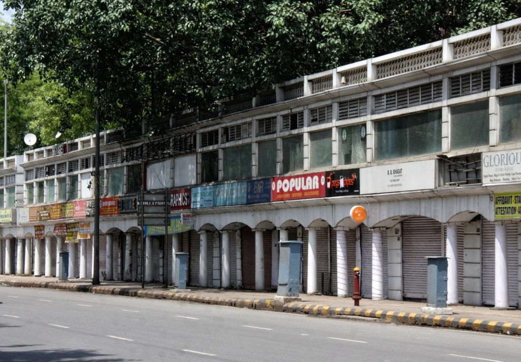 A view of Deserted Market at Connaught Place during the Curfew day in new Delhi on Saturday April 17, 2021.