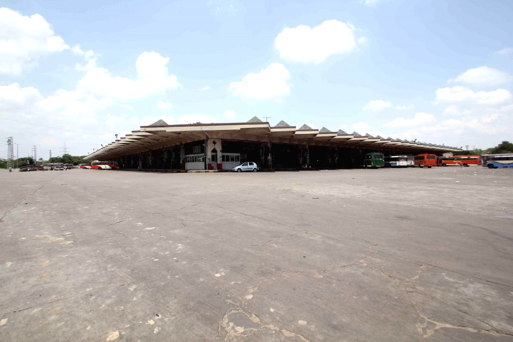 A view of deserted Road Transport Corporation (RTC) depot as the Telangana government has declared a holiday to enable people to remain at home and participate in the household survey.The government .