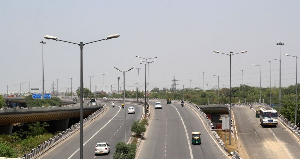 A view of Deserted roads in Delhi during the Curfew day in new Delhi on Saturday, 17th April, 2021.