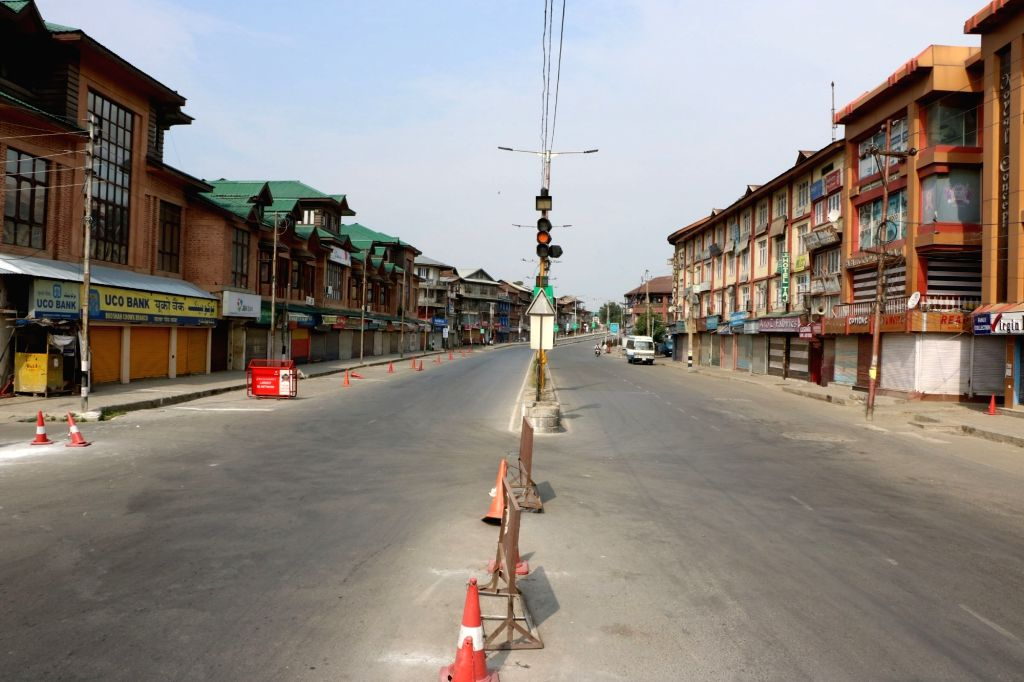 A view of deserted roads of Srinagar as curfew continued for the 6th day in most parts of the Kashmir valley where 37 people died in the vicious cycle of violence that plagued the valley ...