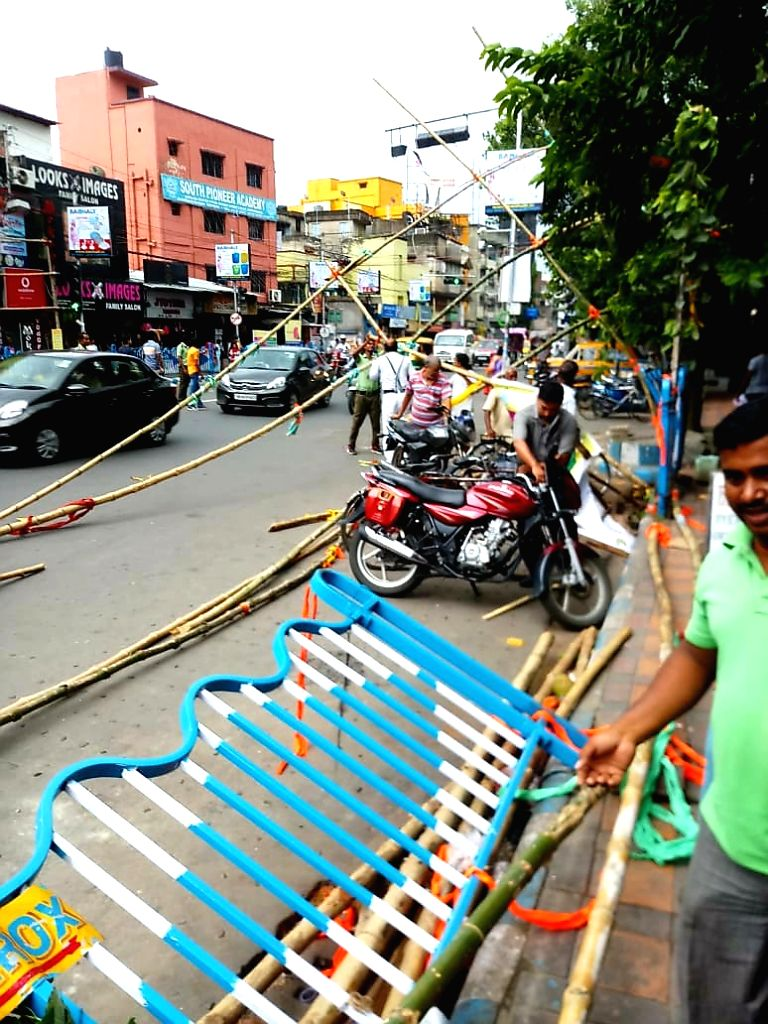 A view of destruction caused by a storm, at Baghajatin in Kolkata on Sep 21, 2019.