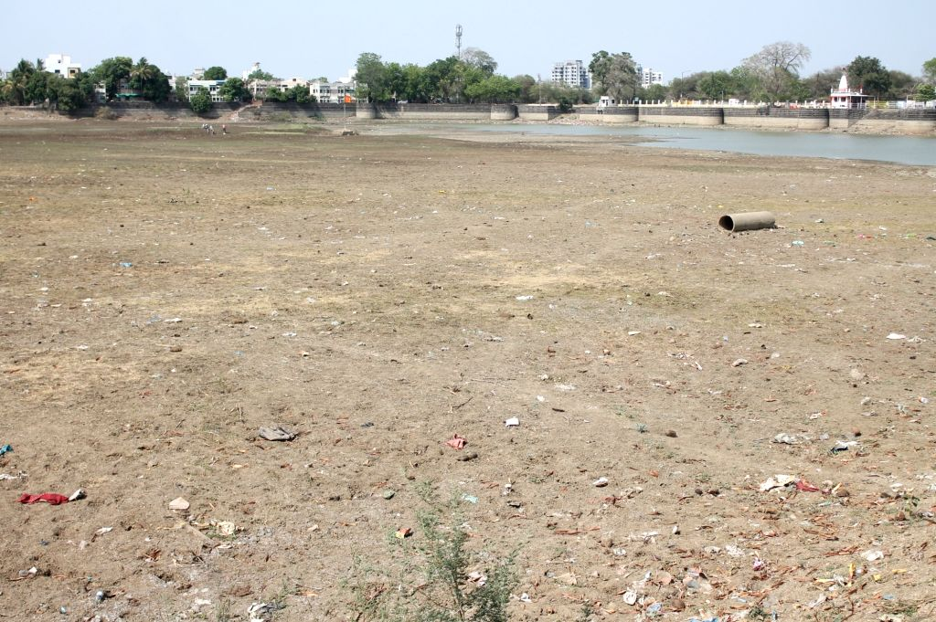 A view of dried-up Sonegaon lake in Nagpur on April 21, 2016.