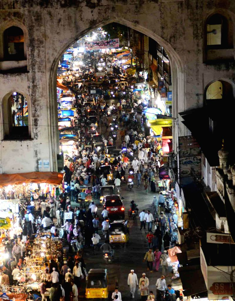 A view of Eid market near Charminar ahead of Eid-ul-Fitr in Hyderabad on July 23, 2014.