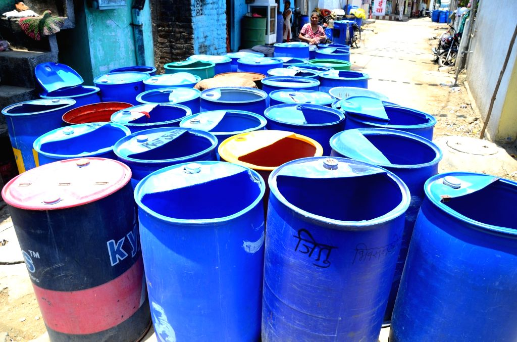 A view of empty water drums in Nagpur's Ramabai Ambedkar Nagar that is facing water crisis on May 12, 2019.