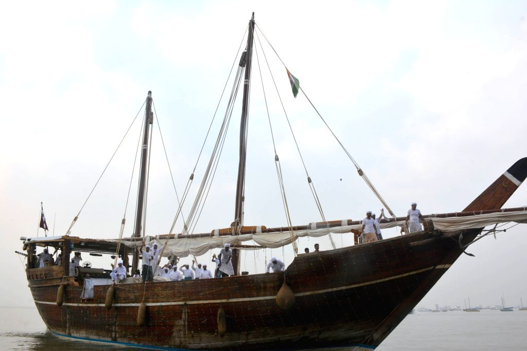 A view of `Fath Al Khair 2` a 45 metre long wooden Dhow which arrived on a friendly mission, at the Gateway of India in Mumbai, on Oct 24, 2015.