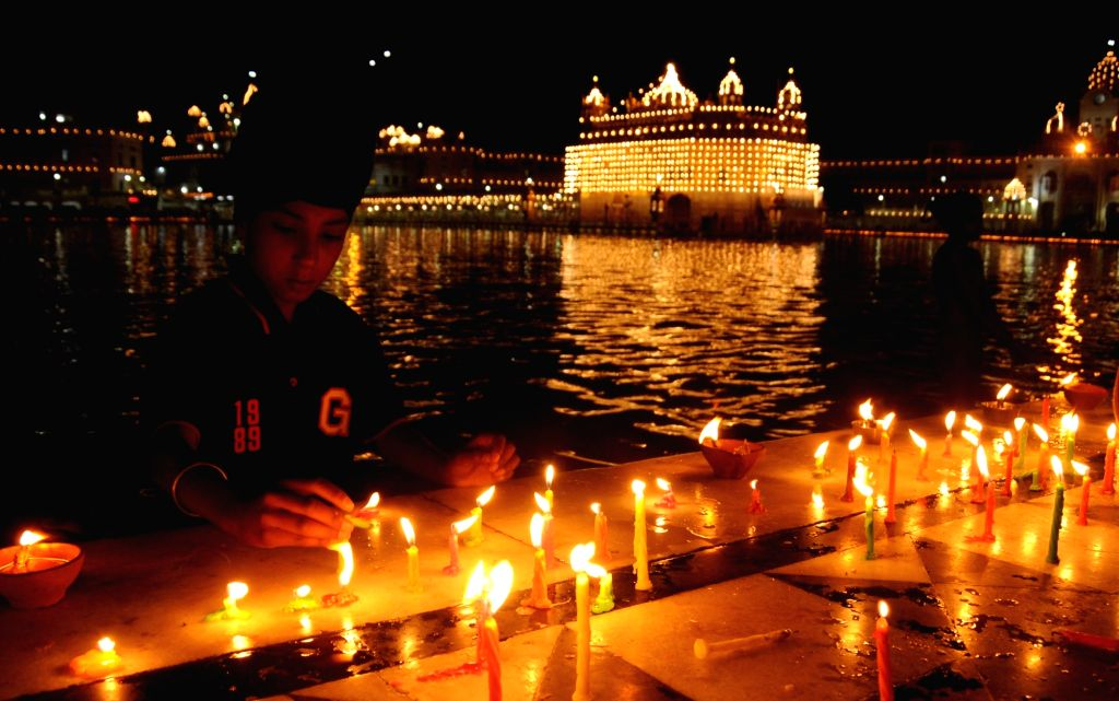 A view of fireworks at the Golden Temple on Baisakhi in Amritsar, on April 13, 2016.