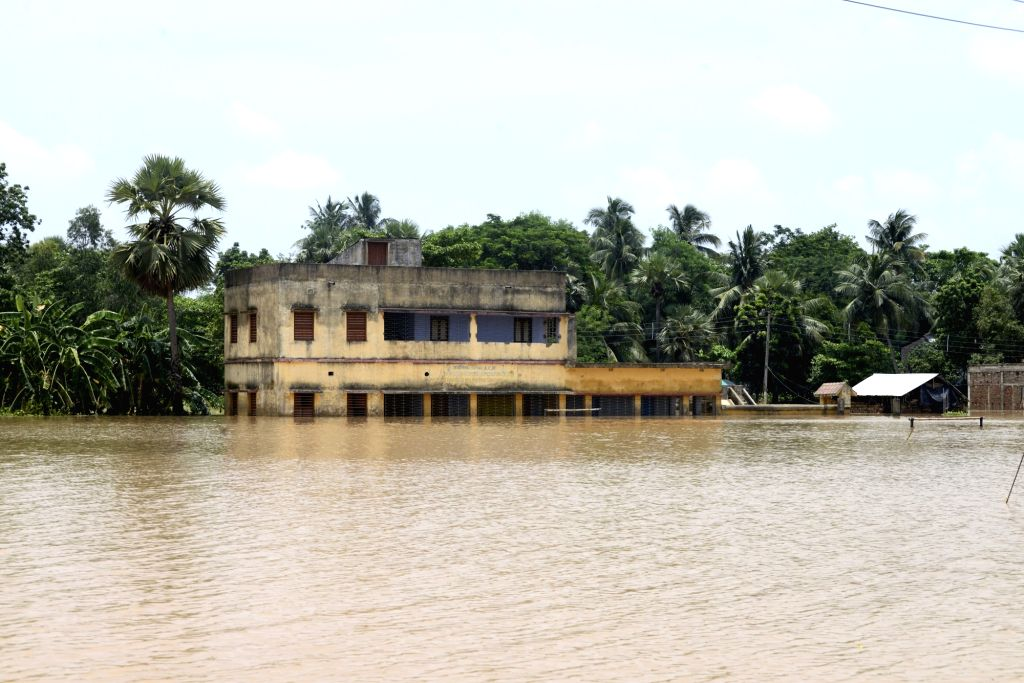 A view of  flood hit Amta in West Bengal on Aug 2, 2017.
