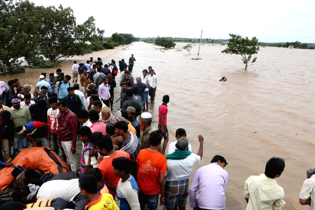 A view of flood hit areas of Mudhol in Karnataka's Bagalkot district on Aug 8, 2019.