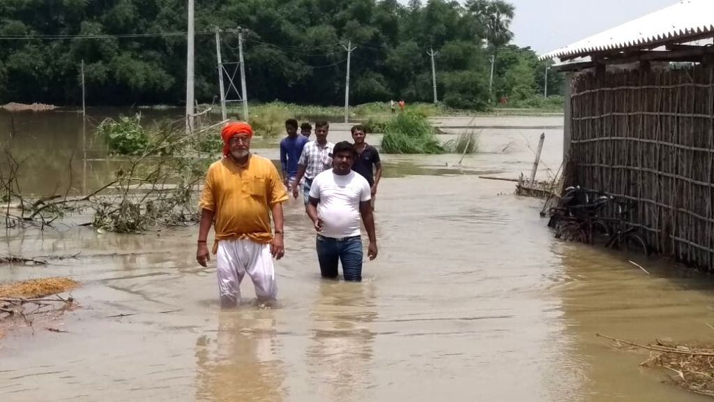 A view of flood hit Dandkhora in Bihar's Katihar on July 18, 2019.
