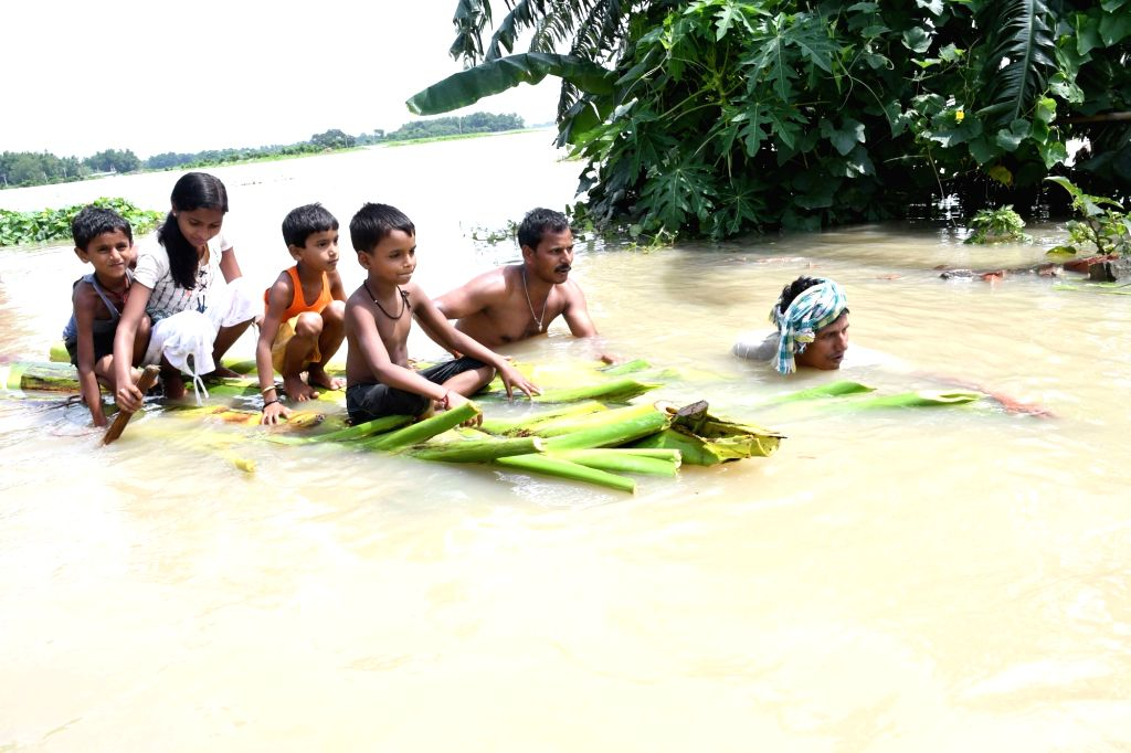 A view of flood hit in Purnia district of Bihar on Aug 15, 2017.