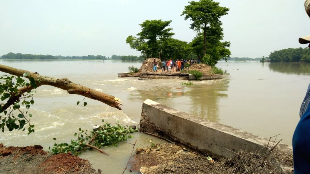 A view of flood hit Kadwa in Bihar's Katihar on July 18, 2019.
