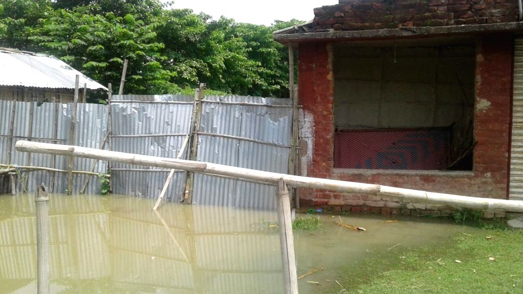 A view of flood hit Katihar in Bihar on July 18, 2019.