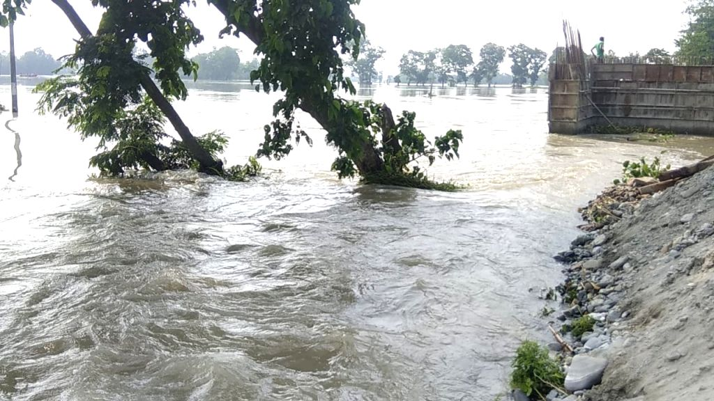 A view of flood hit Katihar in Bihar on July 19, 2019.
