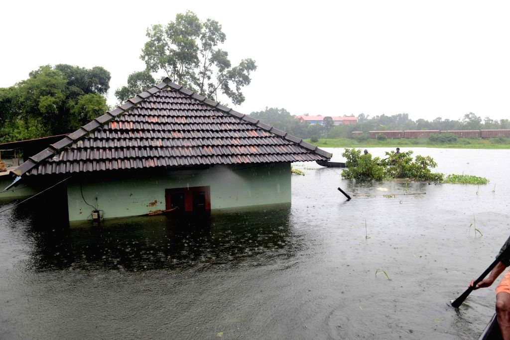 A view of flood hit Kottayam district of Kerala, on July 20, 2018.